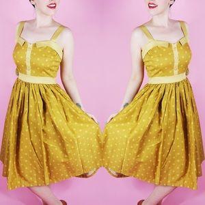Mustard Polka Dot Vintage Style Dress